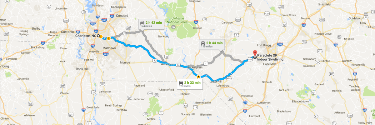 Travel Map displaying route from Charlotte, NC to Paraclete XP SkyVenture