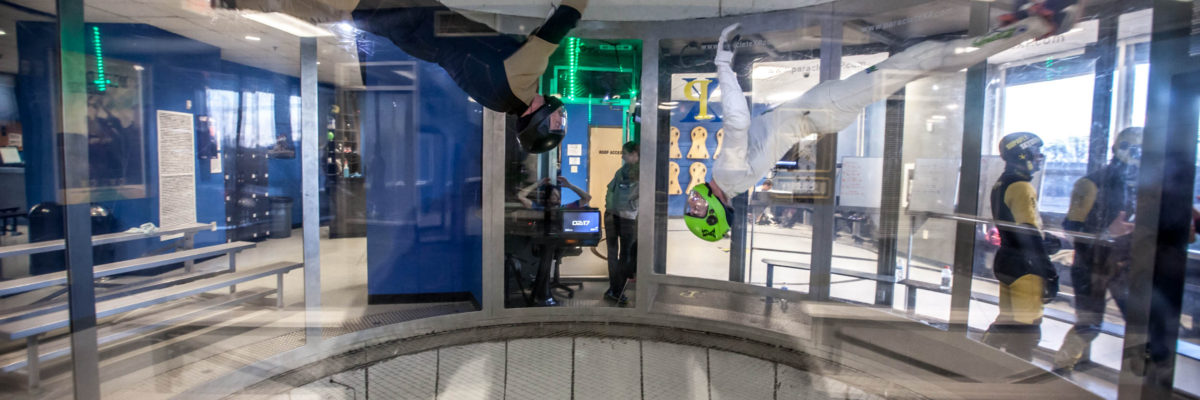 The wind tunnel skydiving chamber.