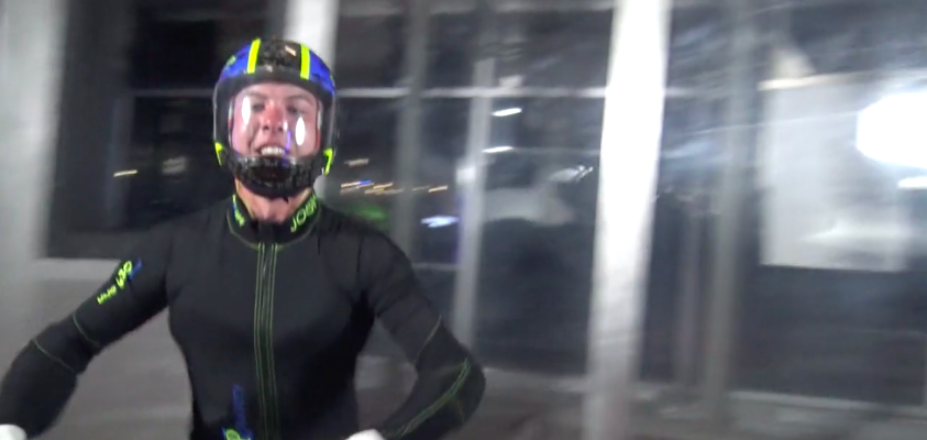 Young man indoor skydiving at Paraclete XP SkyVenture
