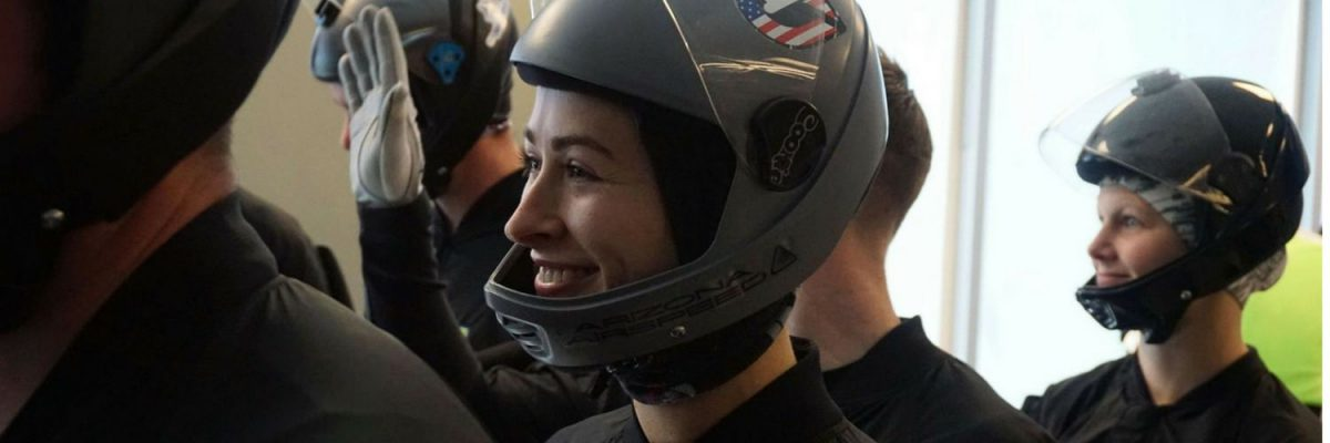 female indoor skydiving competitor