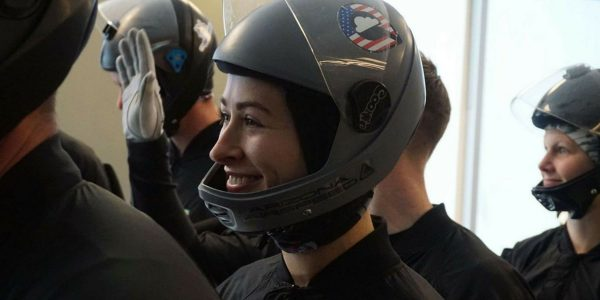 female competitor at indoor skydiving championship
