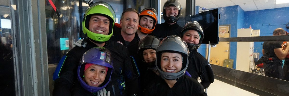 experienced indoor skydivers having fun