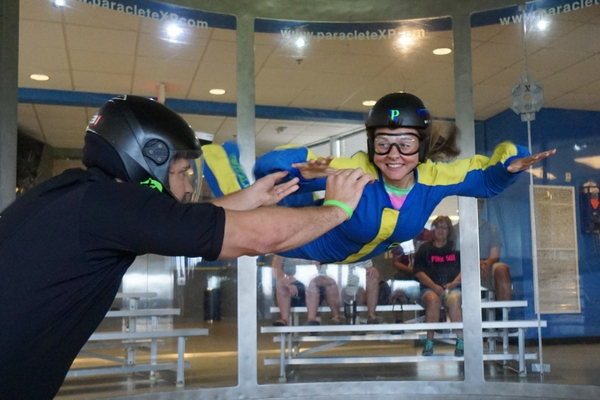 first time flyer learning to indoor skydive