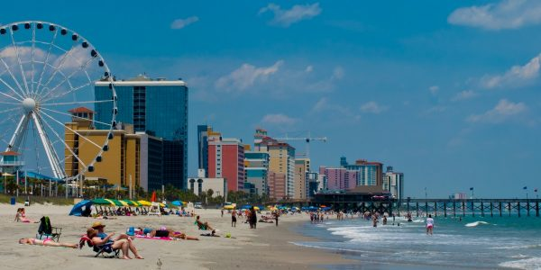 Myrtle Beach goers relax on the sand