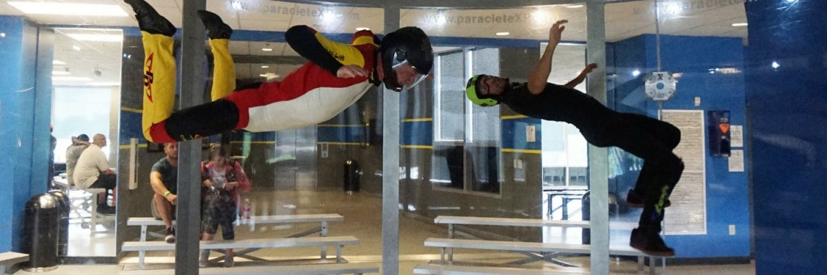amazing displays of fitness in indoor skydiving wind tunnel