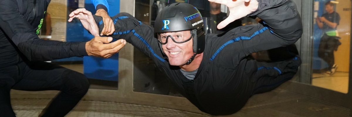 first time indoor skydiver in flight at Paraclete XP