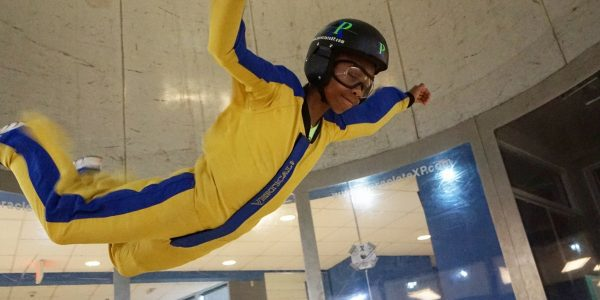 young kid indoor skydiving first time