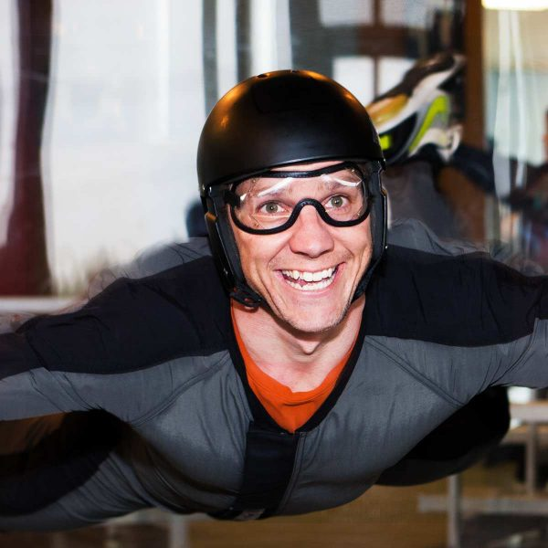 man goes wind tunnel skydiving at NC's largest vertical wind tunnel