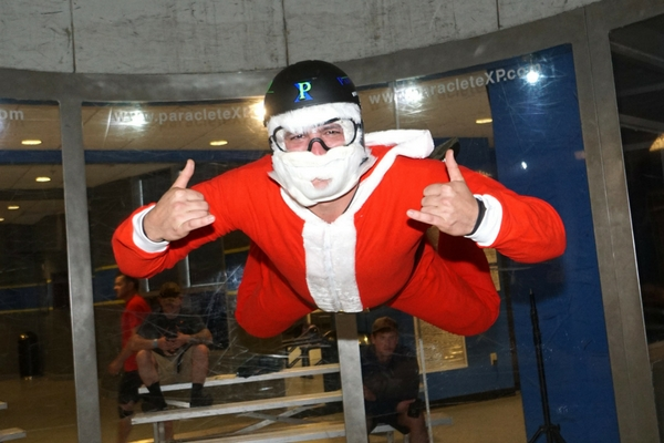 santa indoor skydiving at paraclete xp's wind tunnel