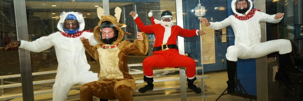 santa and friends fly in the paraclete wind tunnel