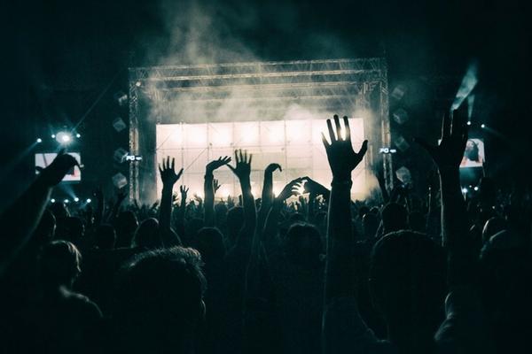 crowd awaits start of rock concert