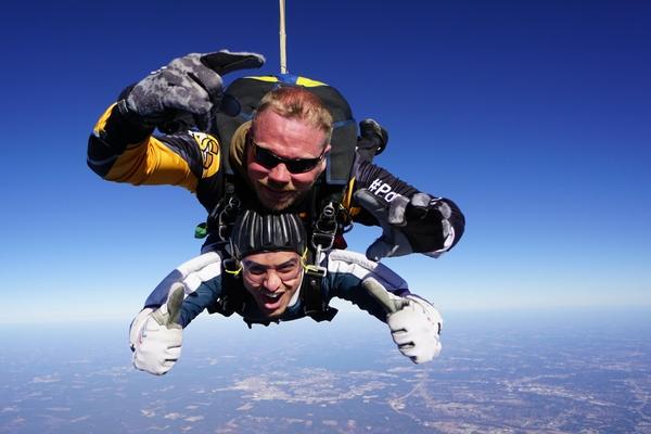 guy crosses tandem skydiving off his bucket list
