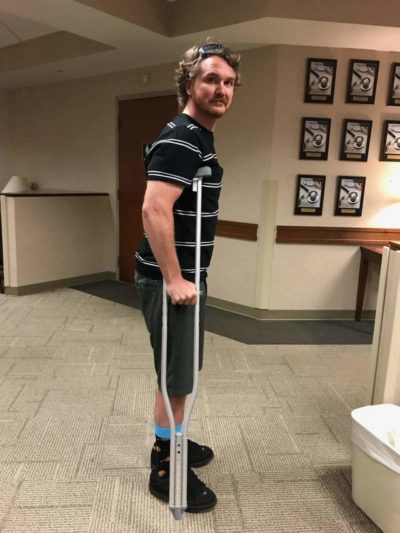 Doug Barron crutches