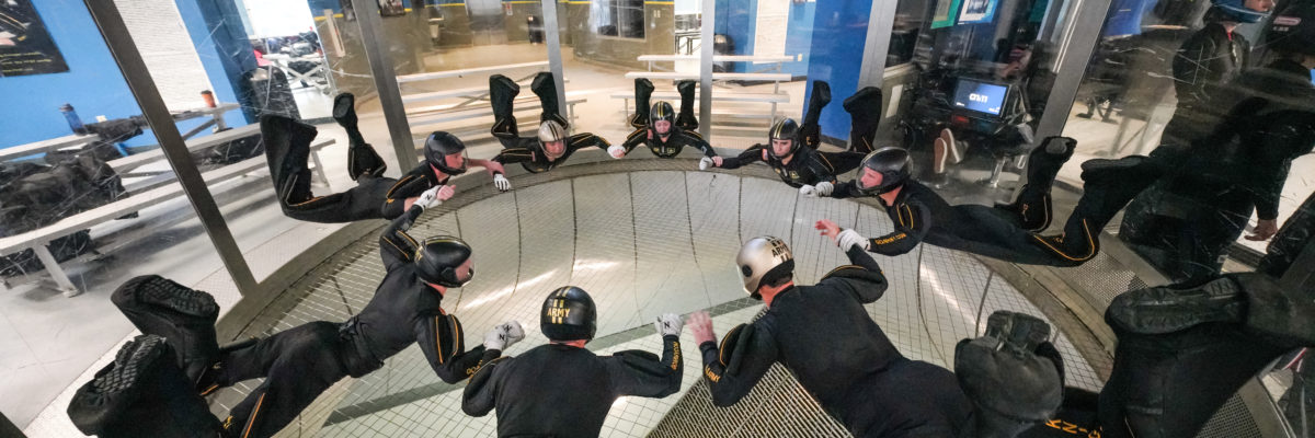 group of indoor skydivers