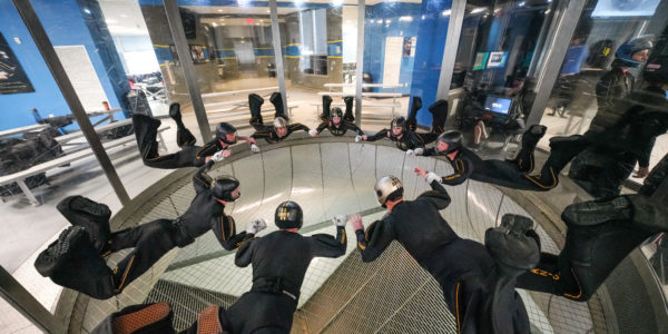 A group of indoor skydivers skydiver.