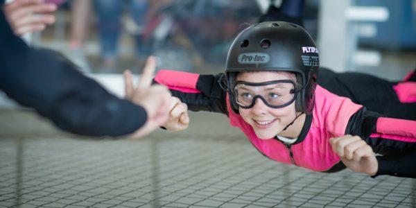 In indoor skydiving fun