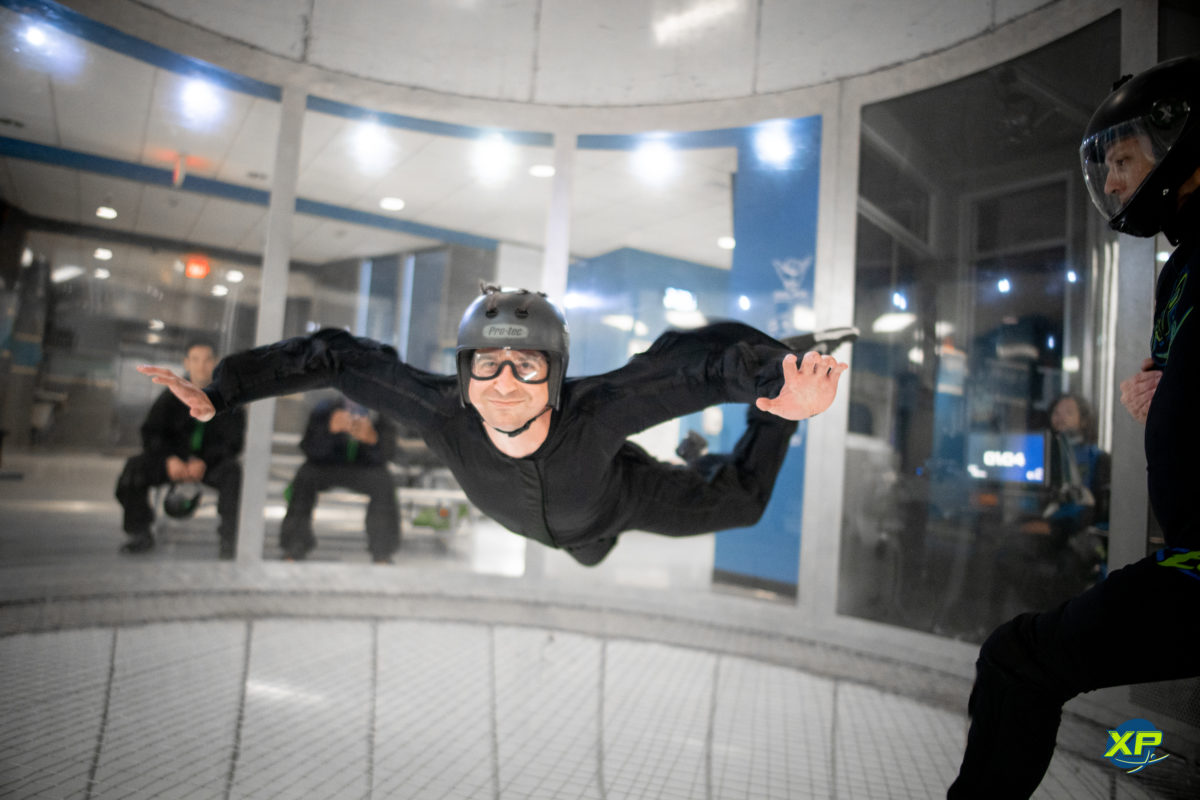 simulated skydiving